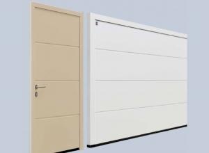 Гаражная боковая дверь Hormann NT 60 M-гофр Woodgrain 875 х 2000